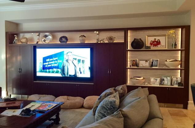 Custom Wenge Entertainment center contemporary with crushed glass and stainless