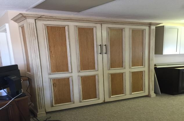 Custom veneer panel bed distressed finish