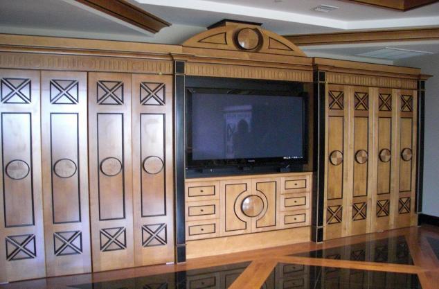 Custom finished wall unit, exotic veneer conversion varnish