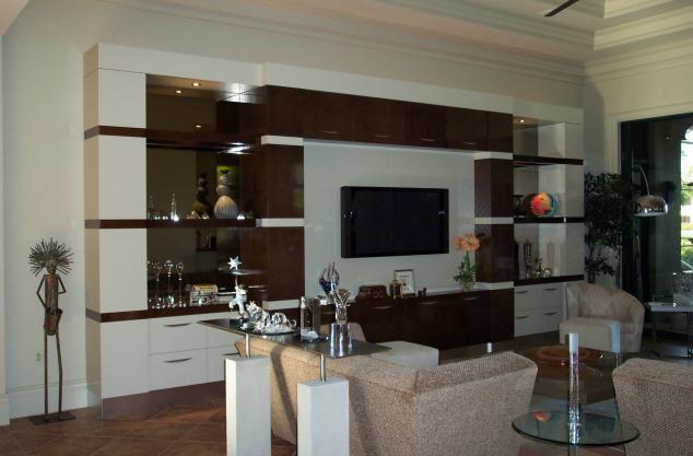 Custom High gloss huge unit from custom veneer and high gloss clear